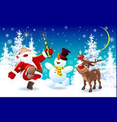 happy santa a deer and a snowman on christmas eve vector image
