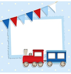 Holiday card with festive flags and sticker train vector image
