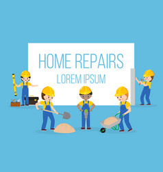 home repair banner with workers construction vector image