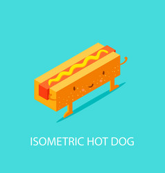 hot dog on plate isometric isometric 3d flat vector image