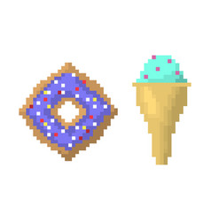 ice cream on stick and bagel style of pixel art vector image