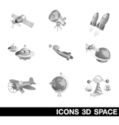Icon Set Space 3D vector