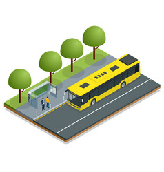 Isometric yellow city bus at a bus stop people vector