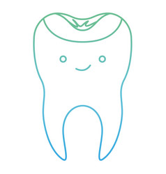 Kawaii restored tooth with root in degraded green vector