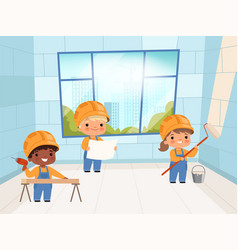 kids builders funny young peoples constructors vector image