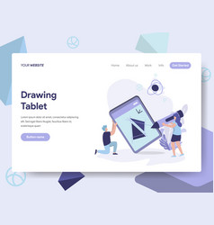 landing page template of drawing tablet concept vector image