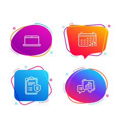 Laptop calendar graph and privacy policy icons vector