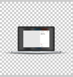 laptop with social network photo frame vector image