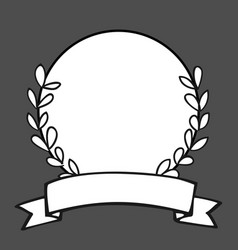 Laurel wreath black and white photo frame on black vector