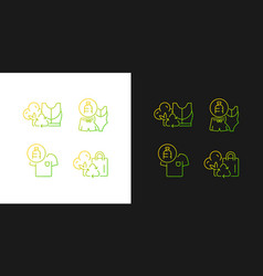 Lessening impact on environment gradient icons vector