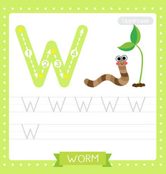 Letter w uppercase tracing practice worksheet vector