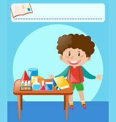 Little boy doing experiment in classroom vector