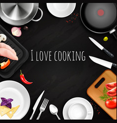 love cooking realistic background vector image