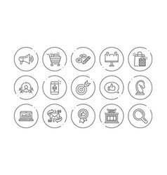 Marketing research line icons strategy feedback vector