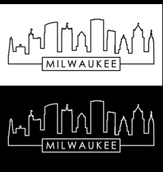 milwaukee skyline linear style editable file vector image