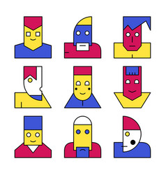 Modern cubism surreal face avatar vector