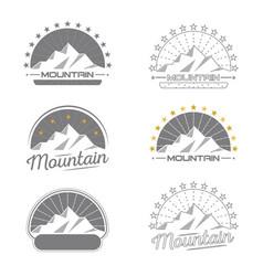 mountains logo set vintage design collection vector image