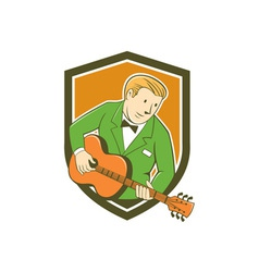 Musician Guitarist Playing Guitar Shield Cartoon vector image