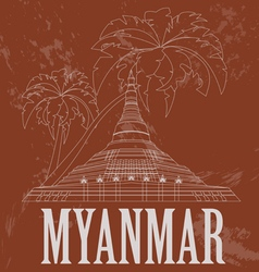 Myanmar burma landmarks retro styled image vector