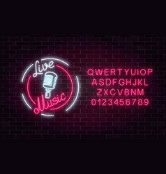 neon sign of bar with live music and alphabet vector image