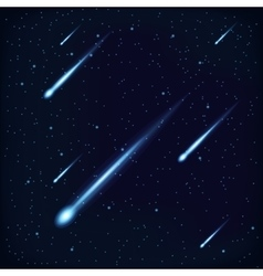 Night Sky with Falling Stars on Cosmos Background vector