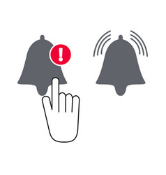notifications icon with bell and cursor hand and vector image