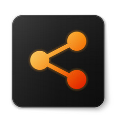 Orange glowing share icon isolated on white vector