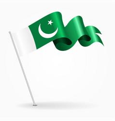 Pakistani pin wavy flag vector