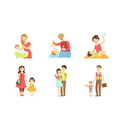 parents daily routine activities set mothers and vector image