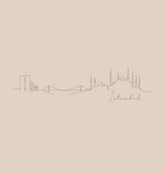 Pen line silhouette istanbul beige vector