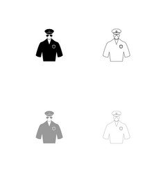 police black and grey set icon vector image