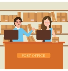 post office delivery reception staff person vector image
