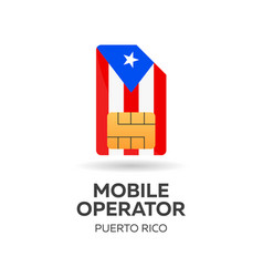 Puerto rico mobile operator sim card with flag vector