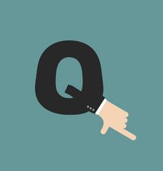 q letter businessman hand font it shows finger vector image