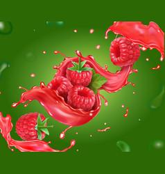 raspberry juice and sweet berry fruit vector image