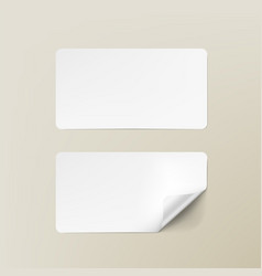 realistic white round corner paper adhesive cards vector image