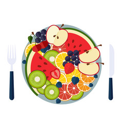salad from fruit and berries vector image