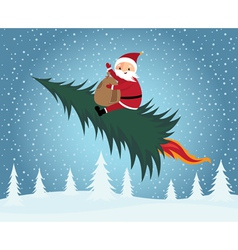 santa claus riding christmas tree vector image