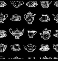 Seamless background of drawn teacups and teapots vector