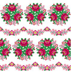 seamless floral polish folk art pattern vector image