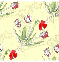 Seamless pattern with amaryllis and tulip-04 vector