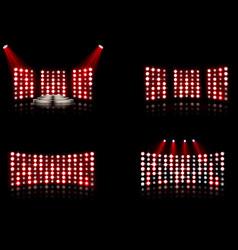Set bright stadium arena lighting spotlight vector