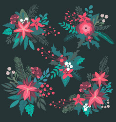 set colorful christmas floral bouquets vector image