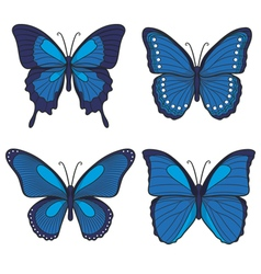 Set of blue butterflies vector image