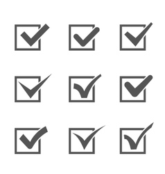 Set of different check marks in boxes vector image