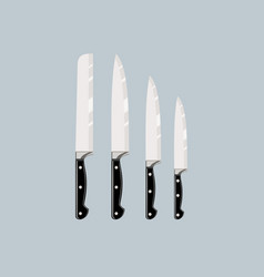 Set of four kitchen knives vector