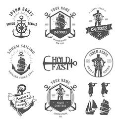 set vintage nautical vector image