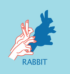 shadow theater hands gesture like rabbit vector image