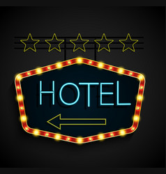shining retro light banner hotel on a black backgr vector image