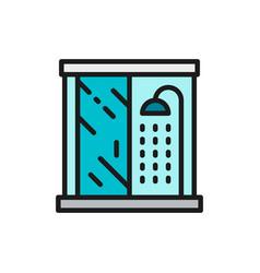 shower cabin bathroom flat color line icon vector image